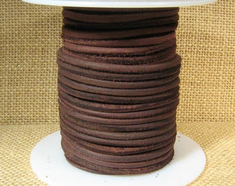 3mm Round Suede Cord - Dark Brown - 3MRS-7 - Choose Your Length