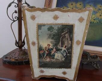 Italian Florentine Wastebasket Romantic Scenic Hollywood Regency GLAM