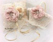 Lace Flower Girl Basket and Ring Bearer Pillow Set in Champagne, Rose Blush and Ivory, Vintage Elegant Wedding