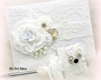 Wedding Guest Book, White, Signature Book, Pen, Bridal Shower, Baptism, Lace Guest Book, Elegant, Vintage Wedding, Crystals, Pearls,