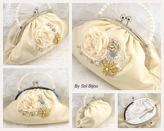 Purse, Bag, Gold, Tan, Beige, Champagne, Cream, Ivory, Handbag, Elegant Wedding, Vintage Style, Bridal, Silk, Pearls, Brooch, Crystals