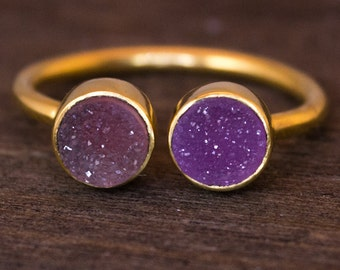 SALE Dual Stone Ring - Double Druzy Ring - Purple Druzy, Adjustable Ring