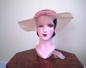 1930s hat Wonderful peach crinoline hat for garden parties or lounging in the sun Velvet ribbon 21 22 23