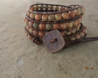 Copper Jasper Beaded Leather Wrap Bracelet
