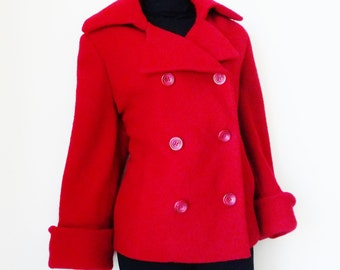 Red Wool Pea Coat - Women - Size 6 - Anne Klein - Designer - Double Breasted  - Vintage - Pure Merino Wool - Christmas - UNIQUE - Recycled