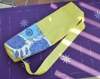 Yoga Mat Bag with Pockets, Yoga Mat Holder, Yoga Mat Carrier, Yoga Tote Bag, Green with Lilac Grey and Aqua, Gift for Yogi
