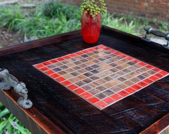 """Ottoman Tray.  Copper Ottoman Tray.  Large Ottoman Tray.  Copper Tray.  """"Crimson Red"""" Mosaic. 24 x 24.  Dark Brown Finish."""