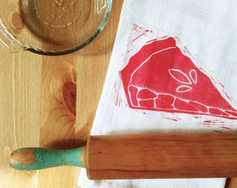 "wood block print ""piece of pie"" tea towel by color.joy"