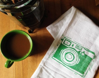 wood block print camera tea towel by color.joy.