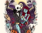 Jack and Sally Nightmare before Christmas A4 Print