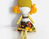handmade rag doll Elvira - yellow hair with pompons & brown skirt