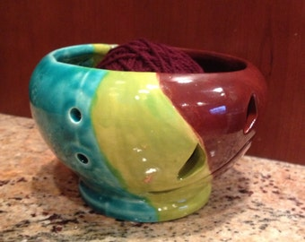 Ceramic clay yarn bowl for knitting and crocheting glazed in turquoise apple geen and brown