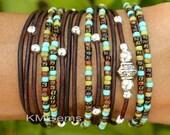 TURQUOISE Boho Leather Wrap Bracelet - Leather Triple Wrap Bracelet w/ Picasso Miyuki / Tibetan Style accents - Pick SIZE / COLOR - Usa - 89
