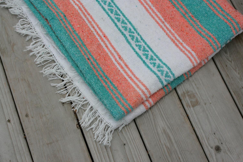 Vintage Boho Home Decor Vintage Blanket Mexican Cotton Woven Tribal Ethnic Native