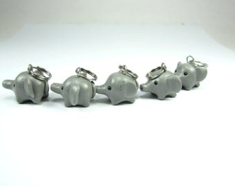 Gray Elephant Knitting Stitch markers (set of 5) polymer clay animal charm