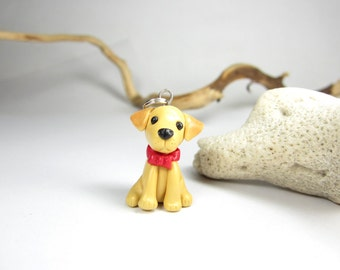 Labrador necklace - Dog jewelry miniature animal lab necklace labrador retriever dog lover gift silver collectible pet yellow unique