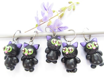 Black cat knitting stitch markers - set of 5