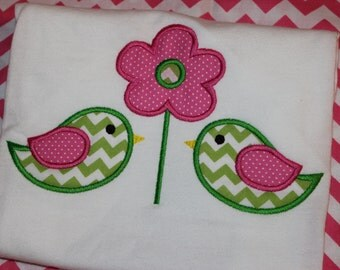 Spring birds- can add name- tshirt or ruffle dress- you pick fabric