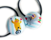 Button Ponytail Holders - Circus Bear and Elephant