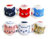 Fabric Covered Buttons - Rainbow Cats - 6 Medium Buttons