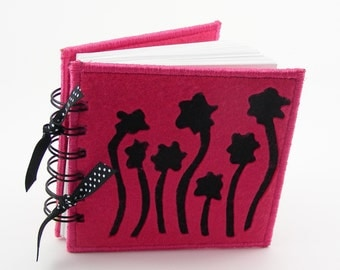 Field of Flowers Sewing Stitch Diary -  felt cover, 50 pages, pink - black