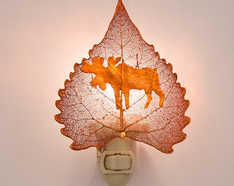 Real Cottonwood Leaf Dipped In Iridescent Copper With Moose Silouhette Night Light  - Iridescent Copper Leaves