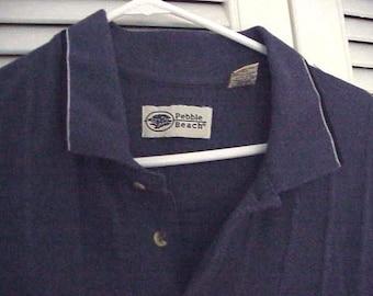 Mens polo Golf  Shirt Pebble Beach Slate blue sz XL Long on Sale