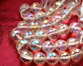 1960s Iridescent Crytal Beads Clear Faceted// 12mm// Czech Crystal// 12 Pieces