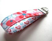 Wristlet Key Fob, Key Chain - Nearby Floral Aqua - READY TO SHIP