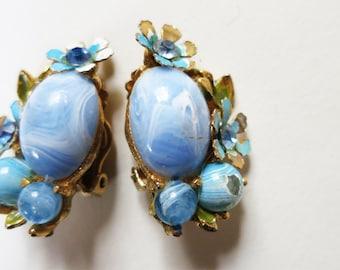 1950s Light Blue Marbled Plastic Enamel Jeweled Flower Cluster Earrings