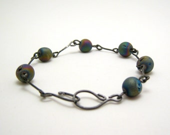 Modern simple jewelry - annealed steel and matte agate bracelet