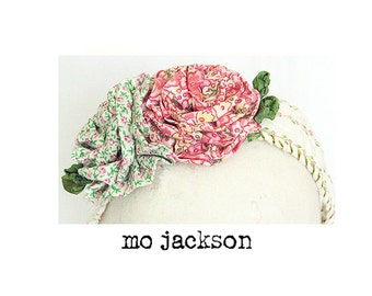 headband made from vintage quilt with hand made flowers