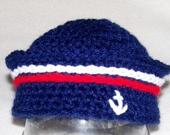 Crochet Nautical Hat - Crochet Anchor Hat - Nautical Hat - Anchor Hat - Baby Nautical Hat - Baby Anchor Hat - Baby Boy Sailor Hat - Prop