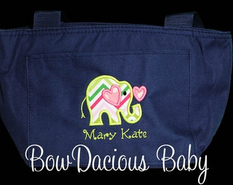 Personalized Elephant Lunch Bag or Tote, Custom Colors and Name, Boys or Girls