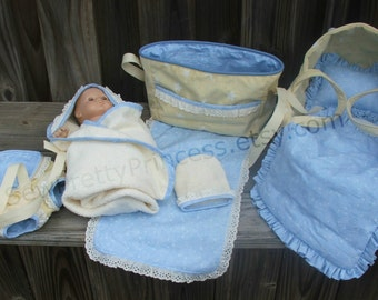 """Baby Doll Bassinet, Diaper Bag, Carrier and Bath set for Bitty Baby or 15"""" dolls"""