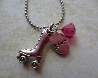 Skate Necklace - Believe charm with Rose Swarovski Stone