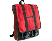 Unisex city Backpack. Red cotton twill and green nylon water resistant fabric like Cordura. Padded. Many pockets. Unique. Ooak