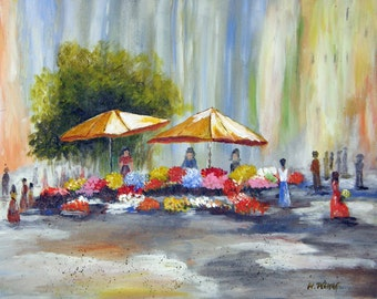 Flowers Market - Original Abstract Painting 20x16 inches