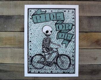 Ride or Die Screen Printed poster PALE GREEN