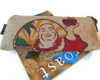 MTO. Custom. Buddha Burlap Clutch. Repurposed Buddha's Cup Kona Coffee Bag. Handmade in Hawaii.