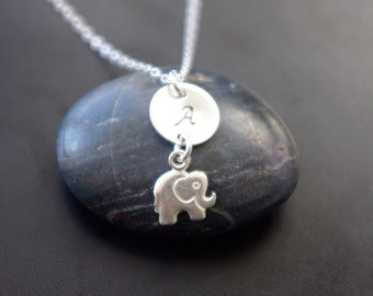 Elephant Necklace, Monogram Jewelry, Personalized Elephant Necklace, Lucky Baby Elephant, Lucky Jewelry, Elephant Jewelry, Gift For Girls