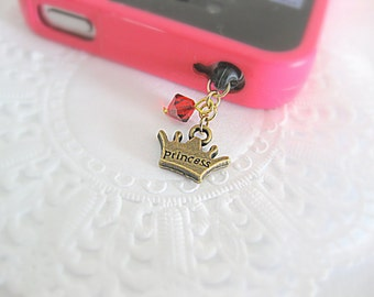 Cute and dainty crown charm accessory for iphone or smartphone. iphone crown charm. Simple holiday gift. Gift under 10