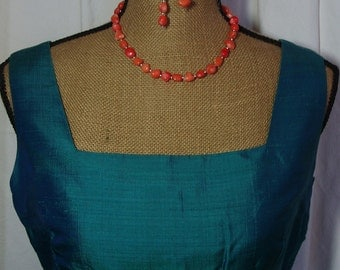 AAA  Orange  Coral,.925 Silver Necklace and Earrings