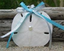 Sand Dollar Beach Wedding Favor Ornament-AQUA BLUE-Aqua Blue Ornament, Beach Home Decor, Nautical Christmas Ornaments