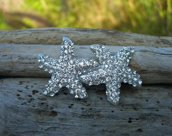 Beach Wedding Double Crystal Starfish Hair Clip-BRIDAL SPARKLE-Beach Weddings, Starfish Hair, Mermaid Hair, Starfish Wedding, Vegan Friendly