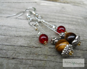 Pendule Earrings style - Mabon - The Wheel of the Year - Tiger Eye Beads - Wicca - Witchcraft - Pagan - Witch - Onyx - Tiger Eye - ETC