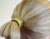 BACK in stock !metallic gold LEATHER hair cuff by odi