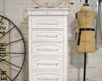 Painted Cottage Chic Shabby White Lingerie Chest CH71