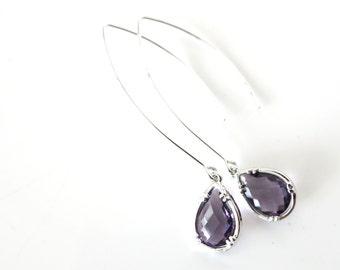 Renny - Cubic Zirconia Amethyst Teardrop Earrings, Gifts for her, Bridal Earrings, Simple Bridesmaid earrings, Purple Lavender Wedding