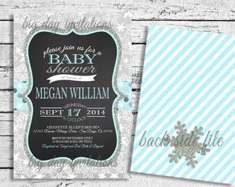 Winter Wonderland Baby Shower Invitation Snowflakes - Bright Modern - Printable Invite Snowflake 1st Birthday